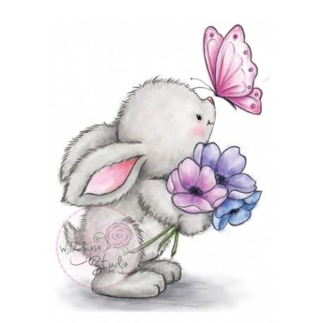 Tampon Clear Wild Rose Studio Bunny And Butterfly Pour Scrapper Lapin Art Dessin Dessins Mignons