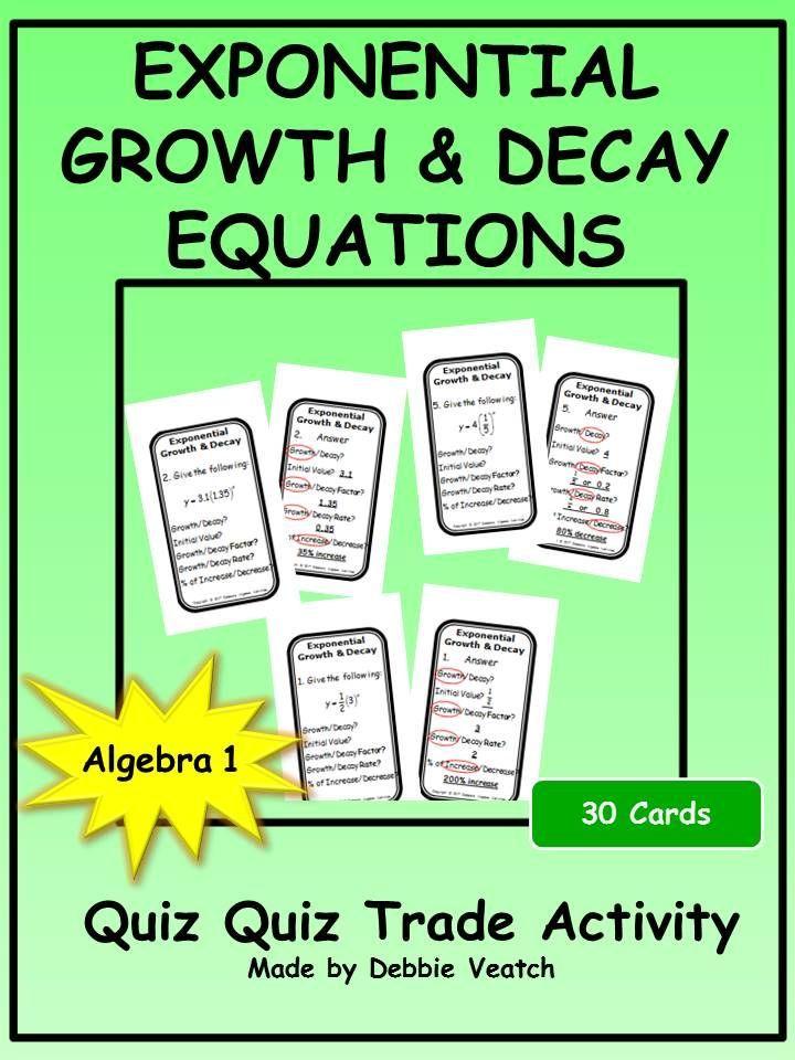 Exponential Growth & Decay Equations Quiz Quiz Trade Activity ...