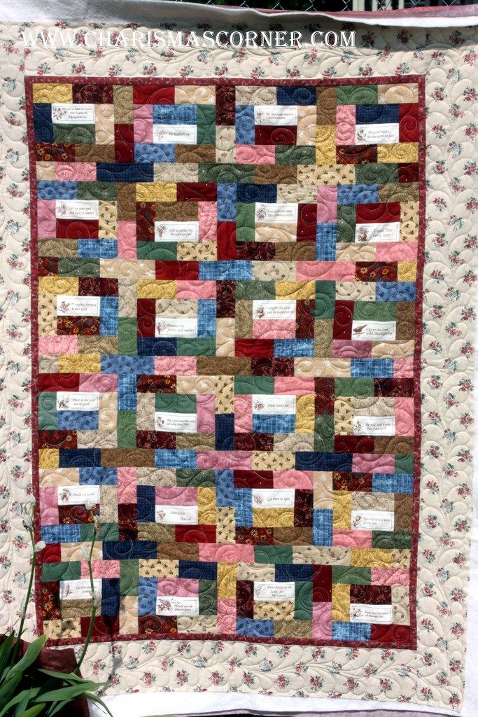 Charisma's Corner blog Client quilt with scripture sayings on it