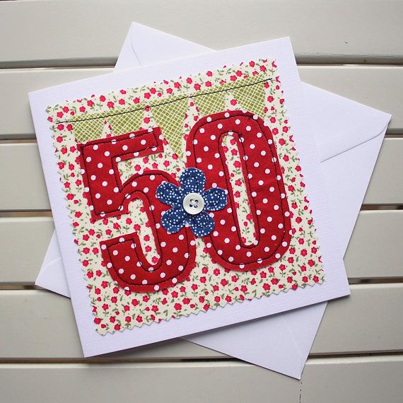 50th Birthday Card Handmade Original Textile Card Machine Embroidered 50 Personalised Insert 50th Birthday Cards 70th Birthday Card Birthday Cards