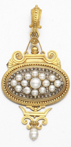 GOLD, PEARL & DIAMOND PENDANT-BROOCH