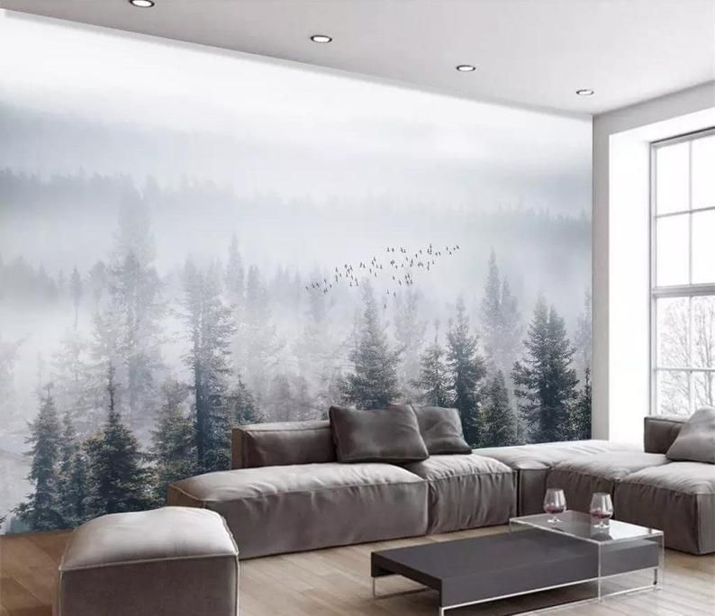 Misty Forest Wallpaper Removable Mural Monogrammed Tree Wall Etsy Forest Wallpaper Wallpaper Bedroom Entryway Wall Decor