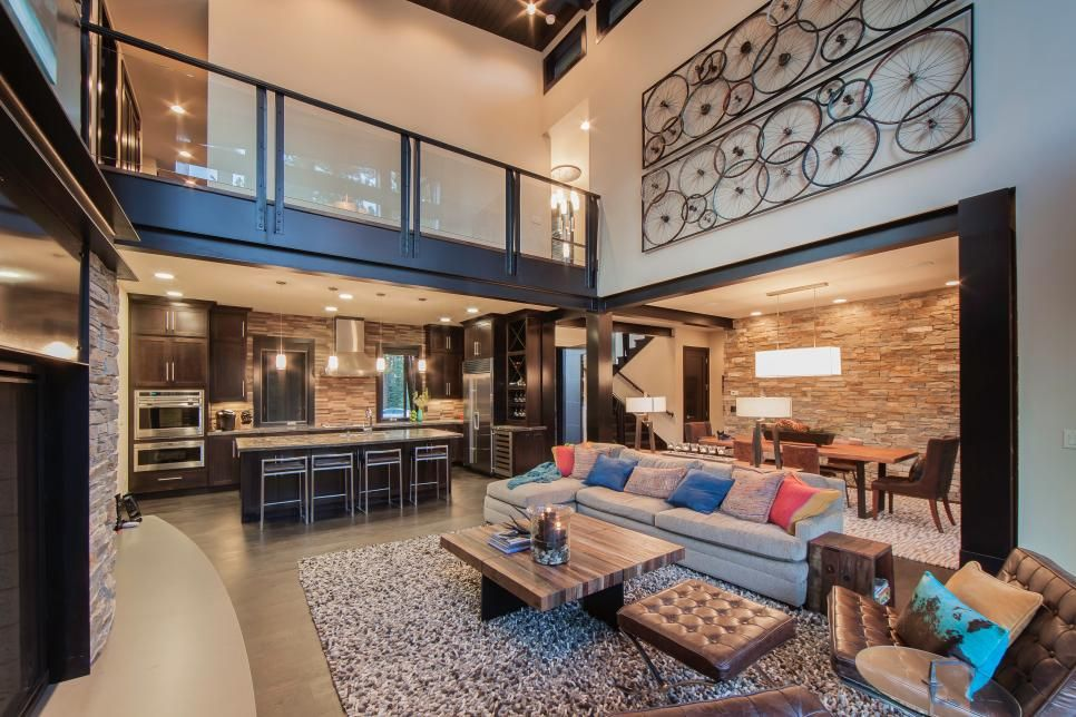 Modern Mountain Great Room With Stone And Metal Finishes Great Rooms House Architecture Design Modern Family Rooms