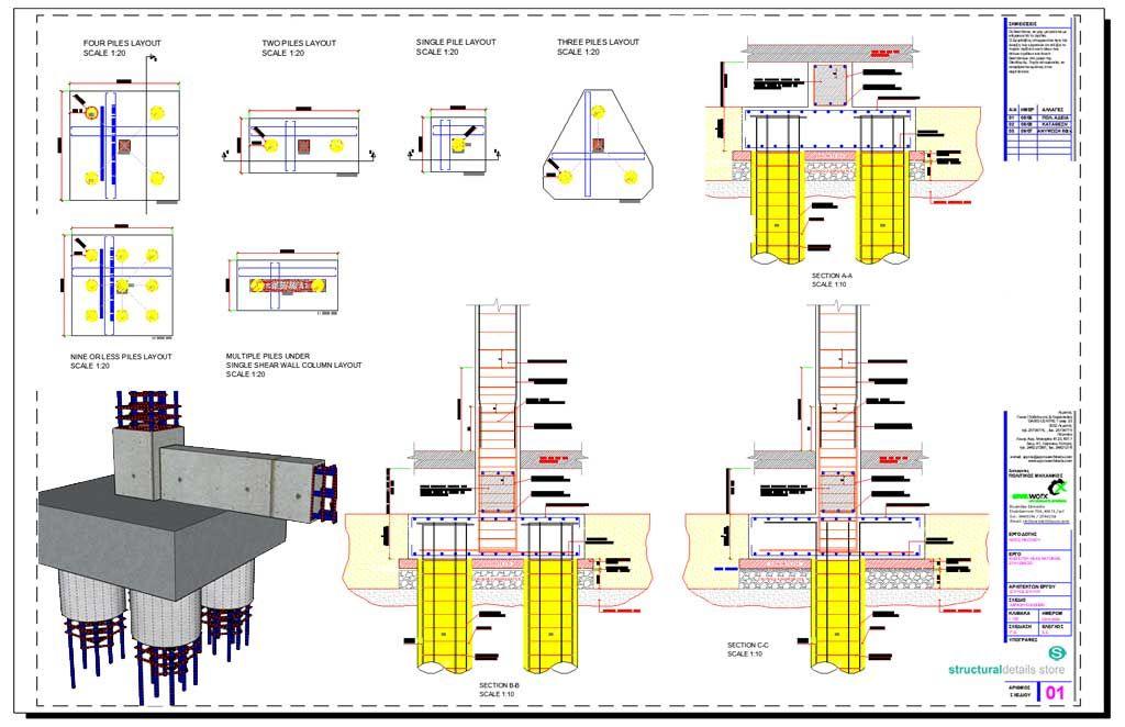 Reinforced Concrete Pile Caps Details Reinforced Concrete Building Foundation Column Design