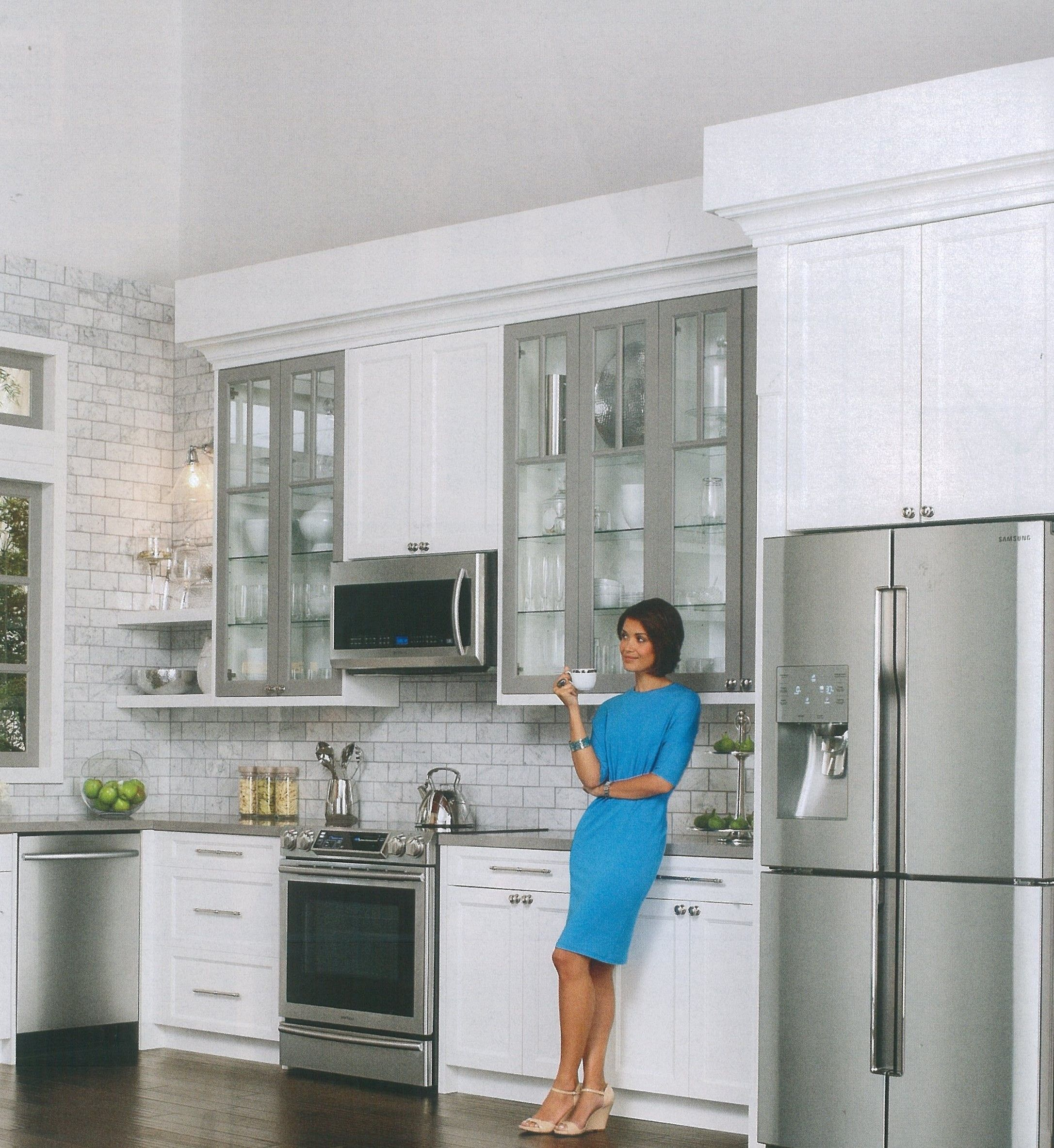 clean line kitchen design with accents of silver   Glass ...