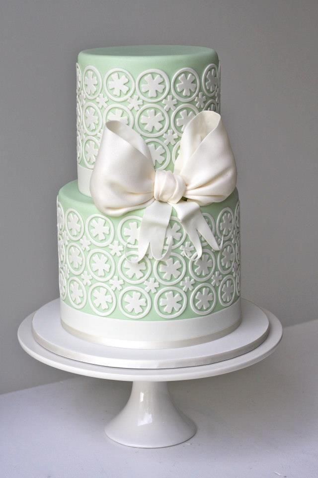 A beautiful mint cake for a beautiful mint wedding. :)