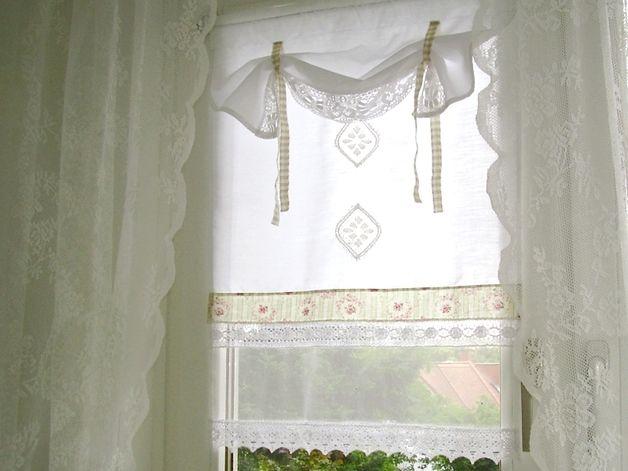 Romantische Vintage Scheibengardine Panneaux Im Nostalgischen Landhaustil Ein Hellgrun Gestreifter Nostalgischer Roschenstoff Und Ei Okna Zavesy Zaves