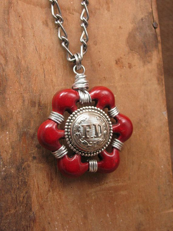 Upcycled Jewelry - Vintage Aluminum Red Water Faucet Handle with FD ...