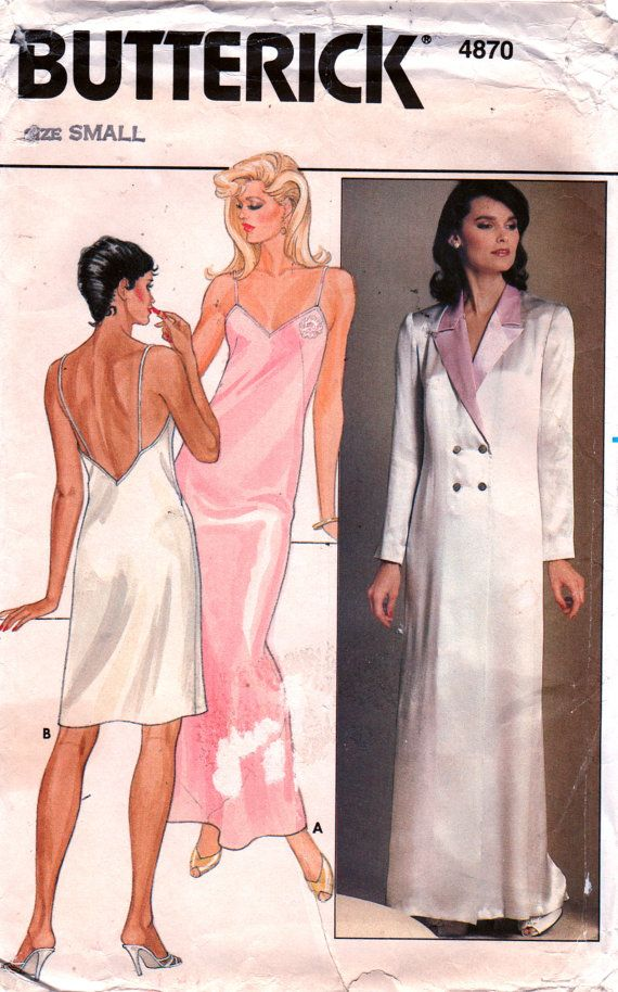 Butterick 4870 Misses Nightgown Negligee and Double Breasted Robe vintage  sewing pattern by mbchills 08931a694