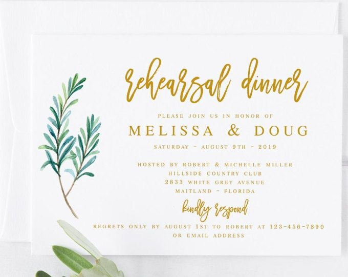 Gold Greenery Rehearsal Dinner Invitation Template Modern - dinner invitation template