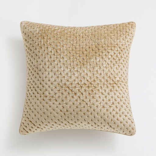 quilted velvet cushion cover with plain gold edge home decor