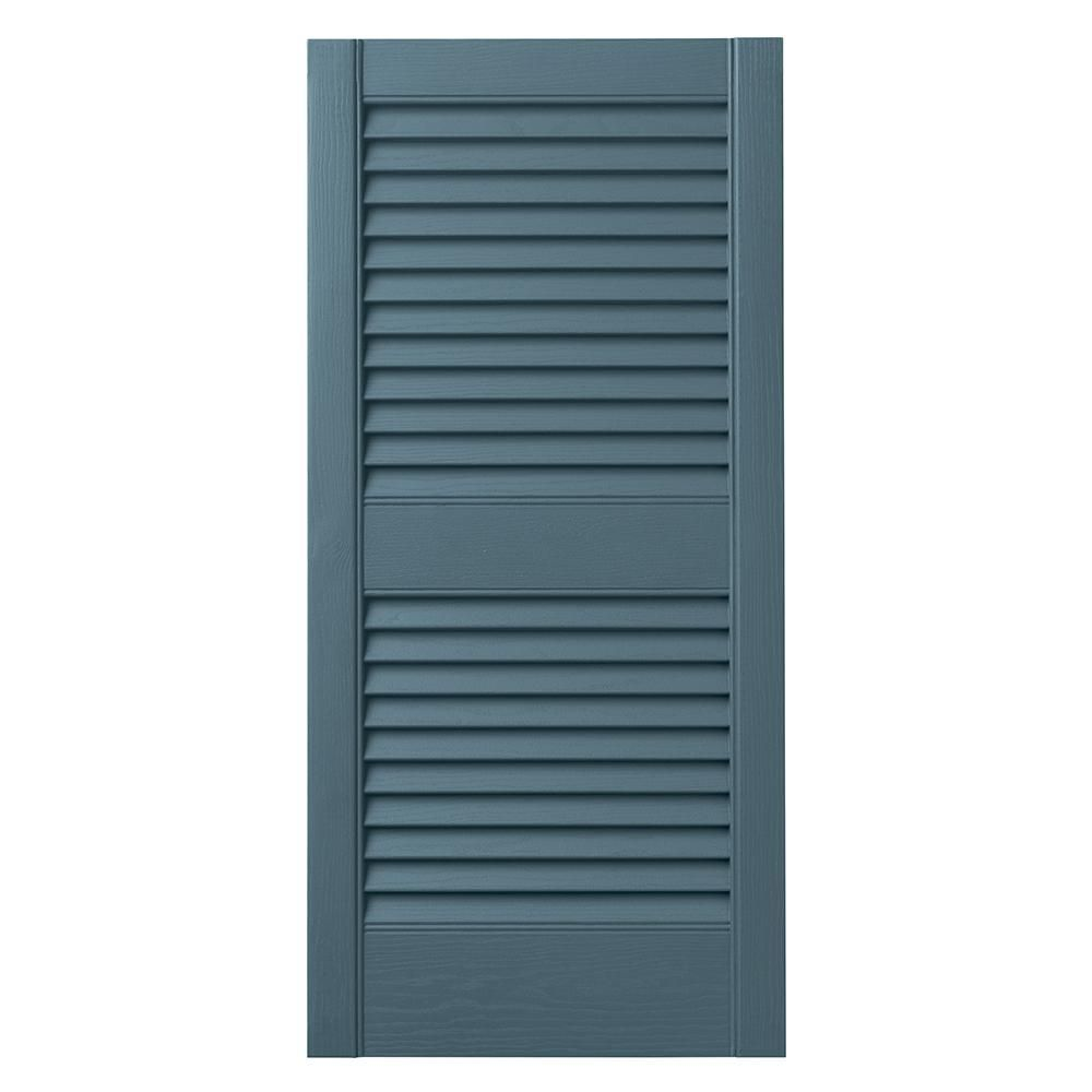 Ply Gem 15 In X 35 In Open Louvered Polypropylene Shutters Pair In Coastal Blue Vinlv1535 Blu The Home Depot In 2020 Louvered Shutters Ply Gem Exterior Vinyl Shutters