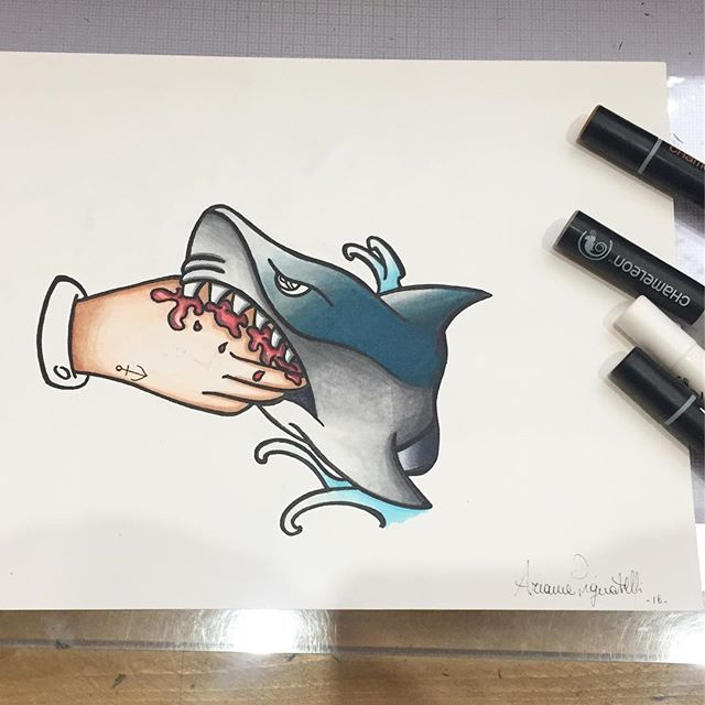 Awesome Shark Tattoo Design Created By Ariannapignatelli Artista With Their Chameleon Pens Chameleonpens Chameleon Art I Shark Tattoos Sketch Book Artist