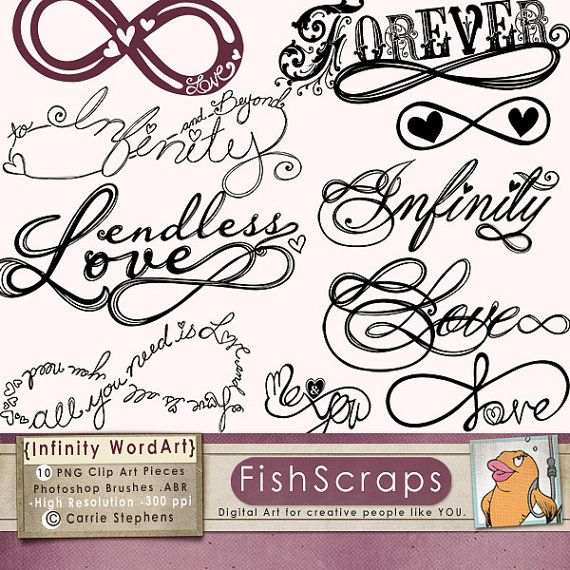 Love clipart infinity word art printable digital stamps