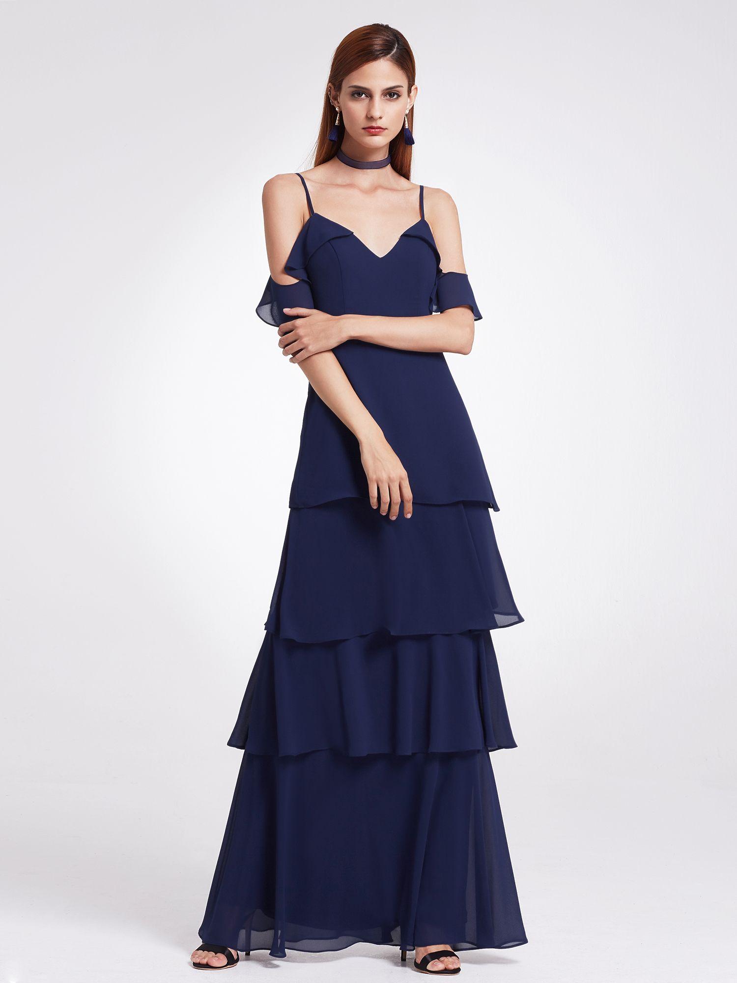 15c0876426f Ever-Pretty Women s Elegant Long Maxi Off Shoulder V-Neck Ruffled Flowy  Wedding Guest Bridesmaid Formal Dresses for Women 07202 Navy Blue US 6  Shoulder