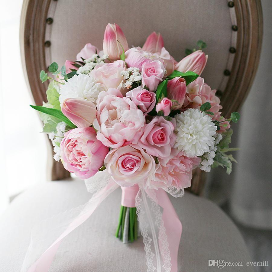 Jane Vini Romantic Pink Artificial Wedding Flowers Bridal Bouquets