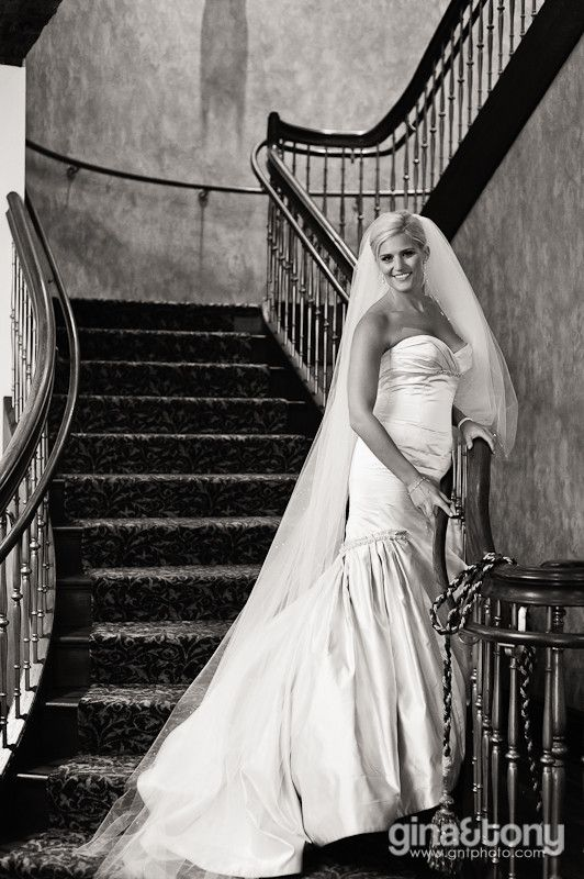 Indoor Bridal Portrait on the Staircase // Summer Wedding at Makray Memorial Golf Club in Barrington, IL // © gntphoto.com #bridalportraitposes