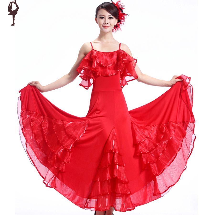 Click to buy ucuc new ballroom dance dress purple red black phil