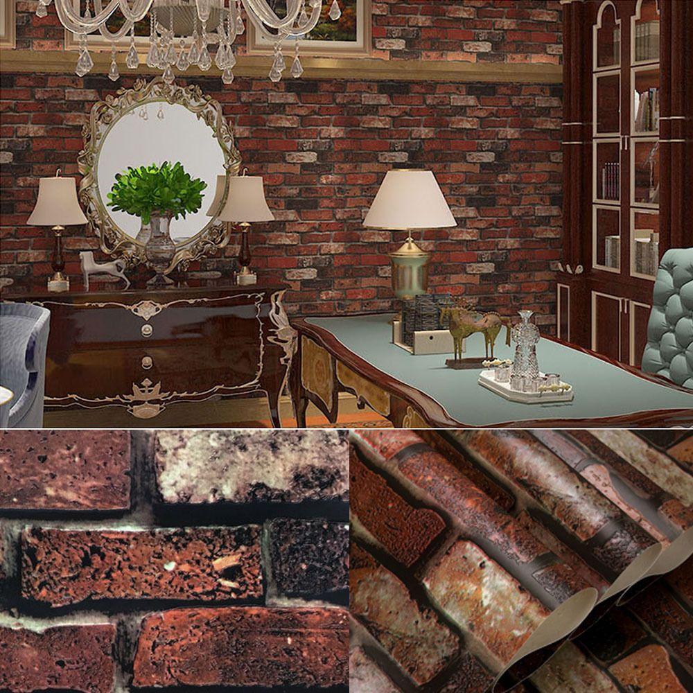 Retro Embossed Red Brick wall DIY Wallpaper Imitation