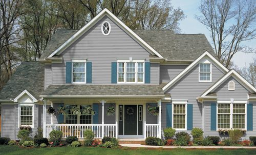 Shutter colors for gray siding color guide kaycan for Siding and shutter combinations