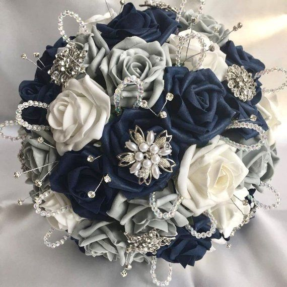 Crystal And White Wedding Theme: Artificial Wedding Flowers, Brides Posy Bouquet With Navy