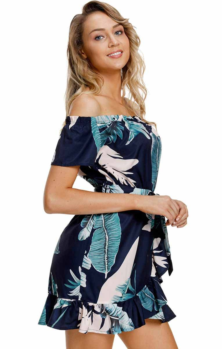 8c6b9f9bf212 Women s  blue off the shoulder mini  dresses with floral pattern design