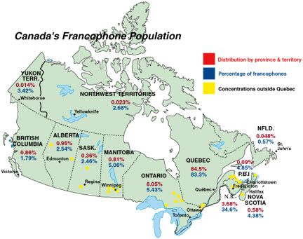 Map De Canada En Francais Map of Canada's Francophone Population | French education, French