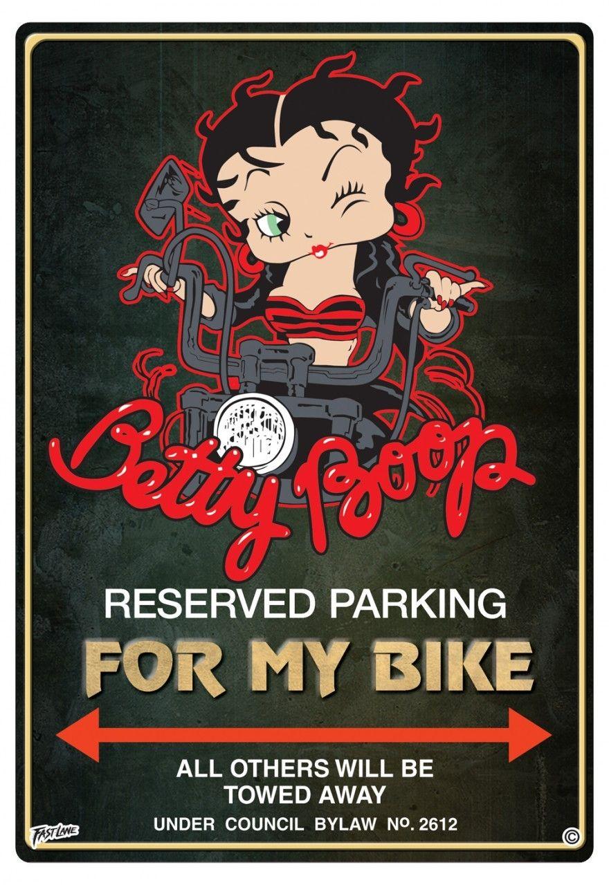 betty boop biker no parking sign garage parking signs