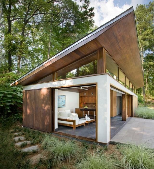 Pultdach Einfamilienhaus Wohnzimmer zweiter Stock Architektur - architekt wohnzimmer