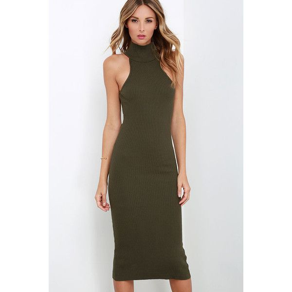 Miles Per Hourglass Olive Green Bodycon Sweater Dress ($49) ❤ liked ...