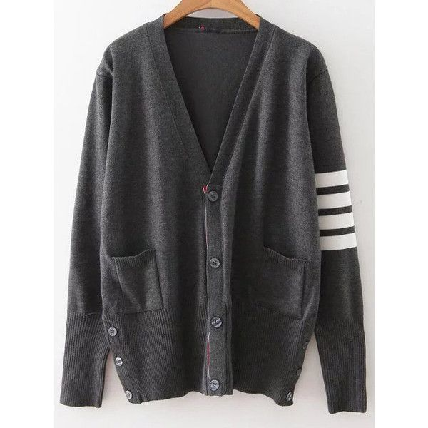 Dark Grey Striped Sleeve Button Up Cardigan ($42) ❤ liked on Polyvore featuring tops, cardigans, striped top, patterned cardigans, button down top, striped cardigan and v-neck tops
