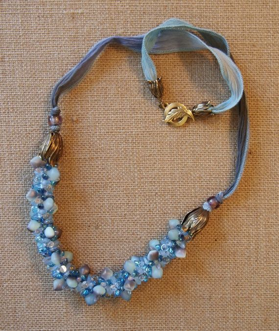 Light Sapphire Beaded Necklace Om My by JasmineTeaDesigns on Etsy