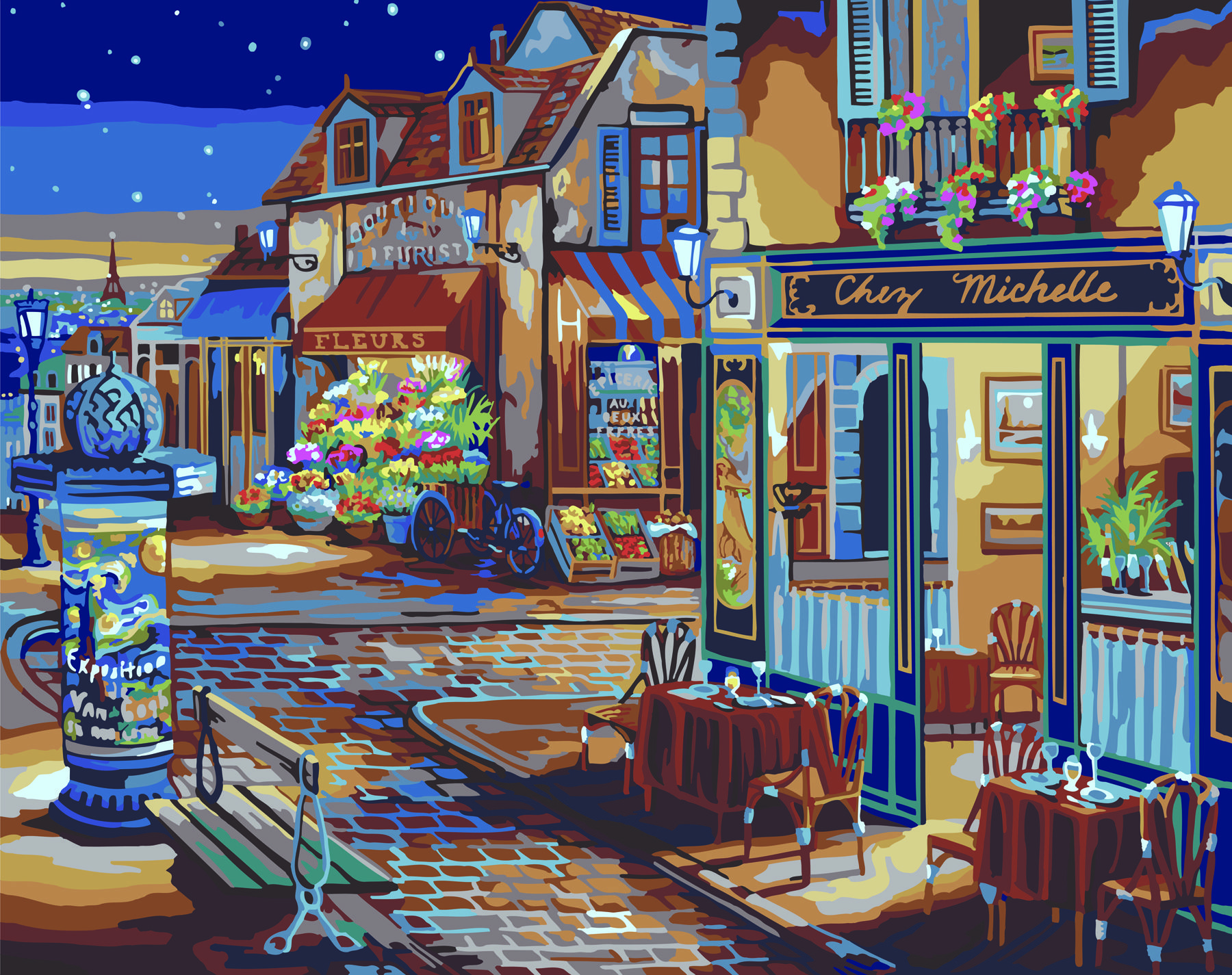Plaid Paint By Number Starry Night Town Shops 20 X16