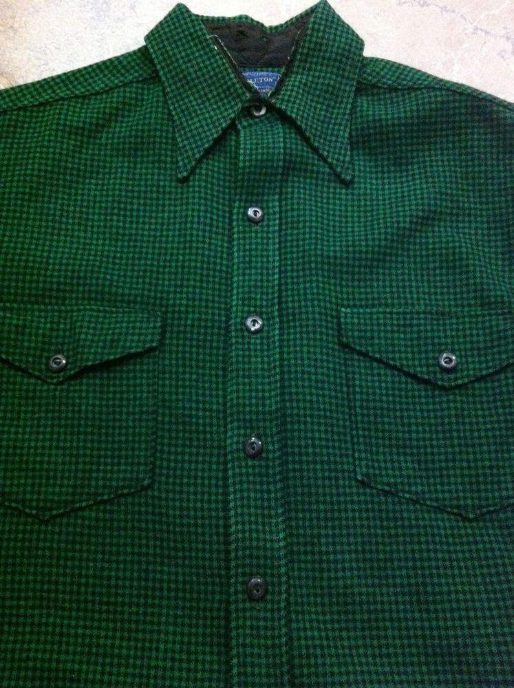 Pendleton Vintage 70's Men's 100% Wool Button Down Long Sleeve Shirt Made in USA Large KRqMW