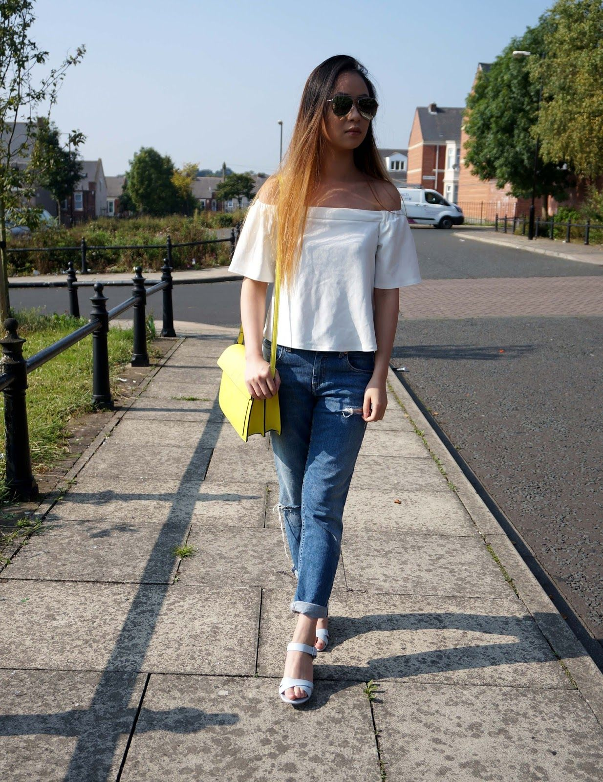 d571737da94 new look white off shoulder top, asos ripped blue jeans, river island  sandals, zara yellow bag