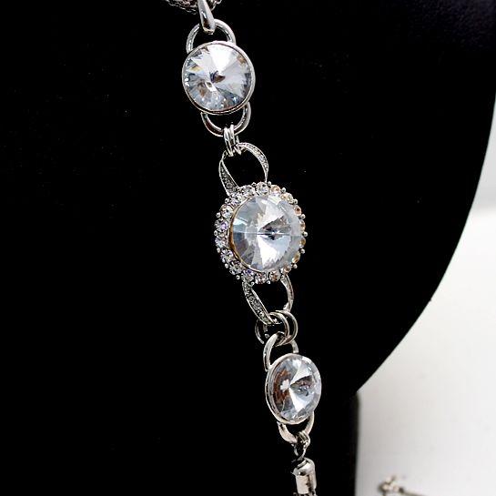Tyylikäs Syntymäpäivä lahjat Box Casual Cool Dress hopea Crystal kaulakoru N87A