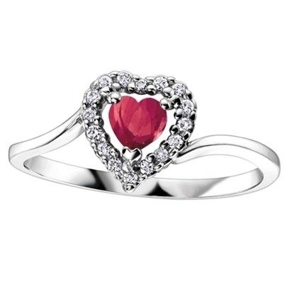 9ct White Gold Diamond Ruby Heart Cluster Ring 51Y04WG 7 9