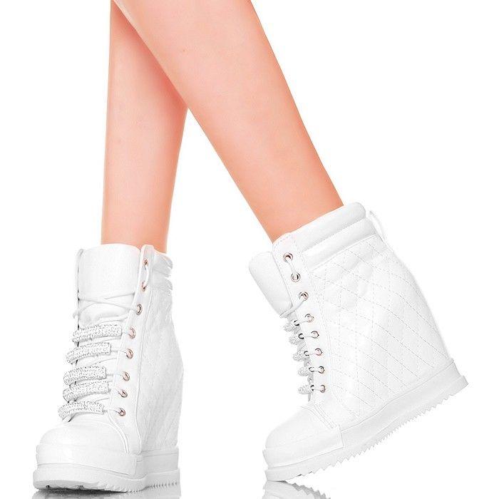 Sneakersy Biale Pikowane Blyszczace Cyrkonie Www Buu Pl Wedge Sneaker Sneakers Shoes