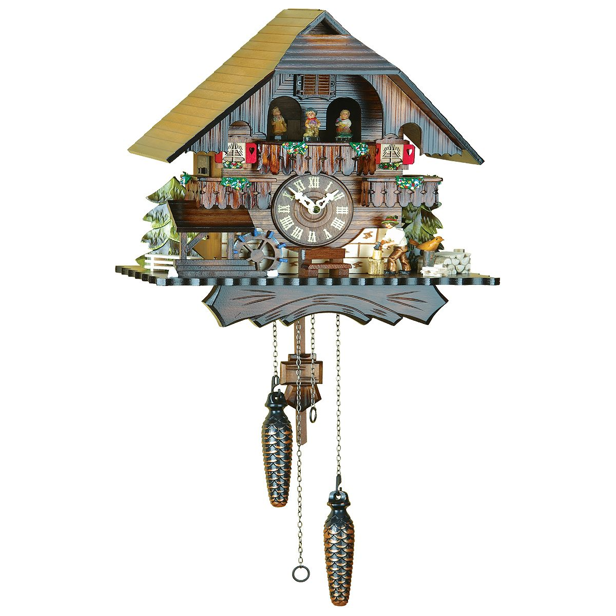 Cuckoo Clock Black Forest house with a wood chipper and music ...