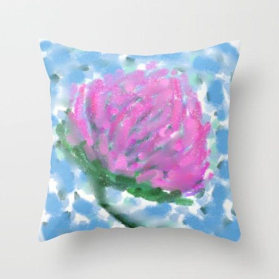Pink Clover Flower Throw Pillow