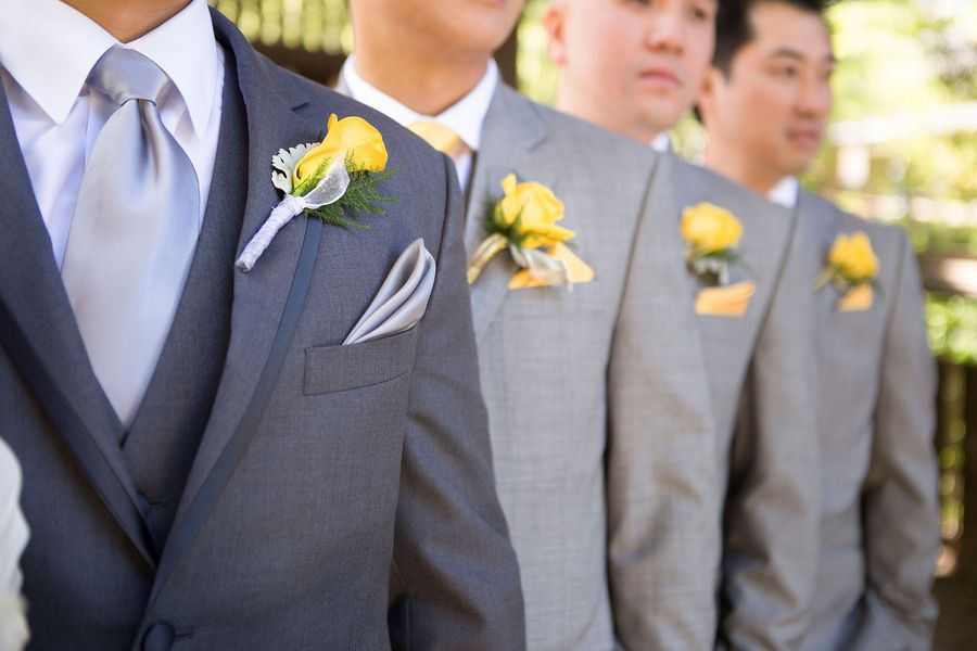 Groom and groomsmen to wear royal blue ties with these dark grey ...