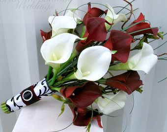 Items Similar To Bridal Bouquet Red Roses White Calla Lilies Real Touch Silk Wedding Flowers Valentines Day On Etsy