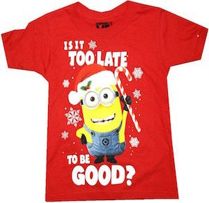 Minion Is it Too Late To Be Good Kids Christmas T-Shirt | Minions ...
