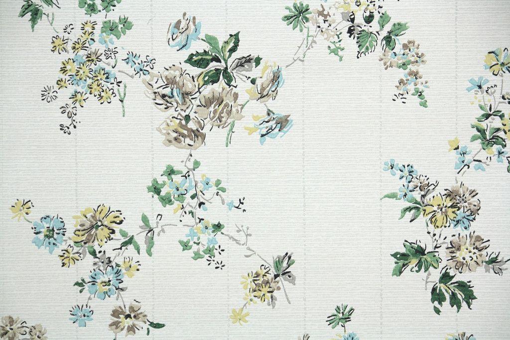 1950s Floral Vintage Wallpaper Vintage Floral Wallpapers Vintage Wallpaper Antique Wallpaper