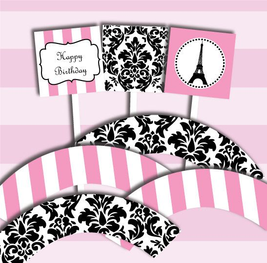 printable paris theme party diy cupcake kit paper craft eiffel tower pinterest loisirs. Black Bedroom Furniture Sets. Home Design Ideas