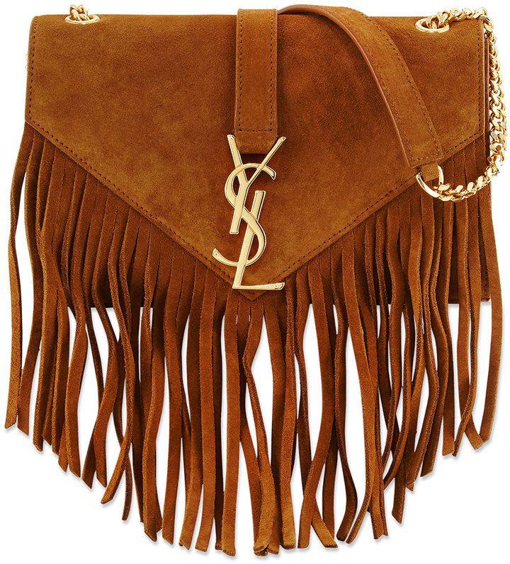 Trending On ShopStyle - Saint Laurent Monogram Suede Fringe Shoulder Bag