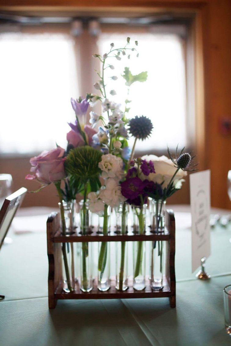 Wooden test tube racks wedding centerpiece boho flowers