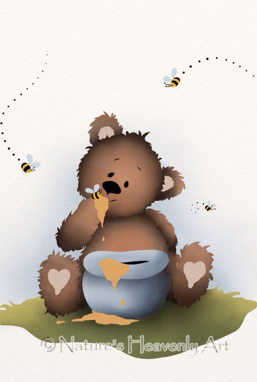 Baby Blue Boys Nursery Wall Art 5 X 7 Print, Cute Brown Teddy Bear  Childrens Art, Honey Pot And Bees
