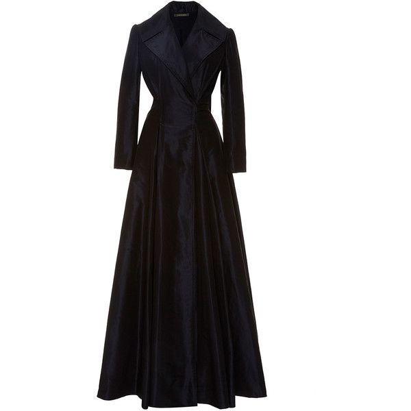 Zac Posen Collared Taffeta A-Line Gown (65.865 ARS) ❤ liked on Polyvore featuring dresses, gowns, long sleeve evening gowns, black ball gown, black evening gowns, black dress and long sleeve black dress