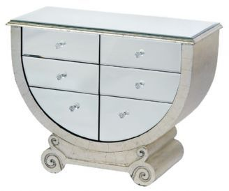Antique Silver Vintage Style Venezia Mirrored Half Moon Console Table With  Six Drawers